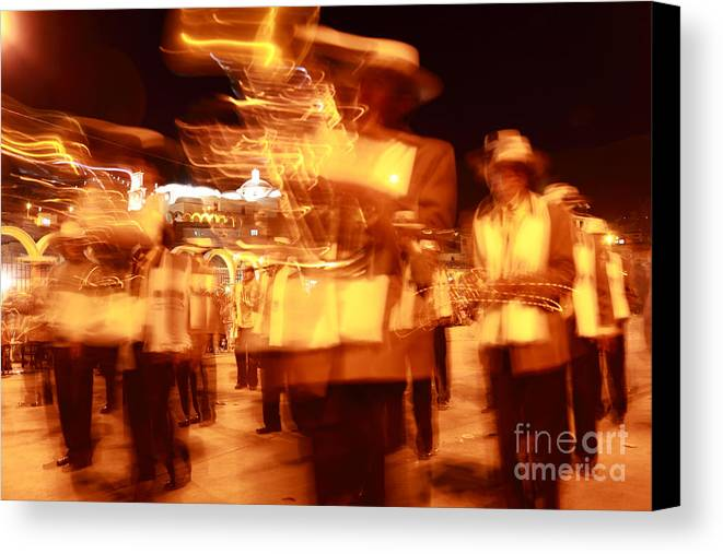 Brass Band Canvas Print featuring the photograph Brass Band At Night by James Brunker