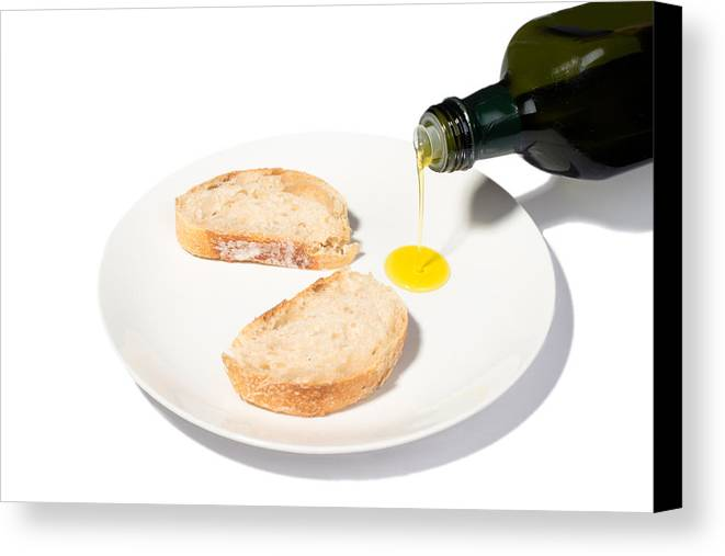 Bread Canvas Print featuring the photograph Bread With Olive Oil by Frank Gaertner