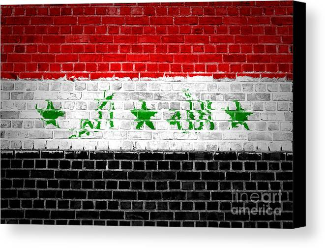 Iraq Canvas Print featuring the digital art Brick Wall Iraq by Antony McAulay