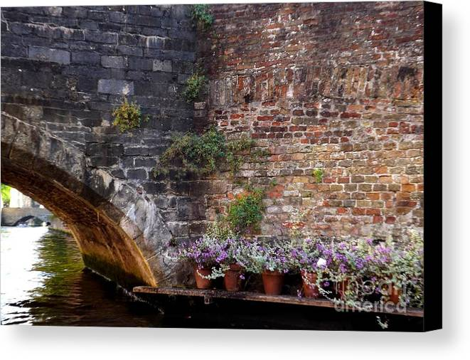 Canal Canvas Print featuring the photograph Bridge Garden by Jessica Panagopoulos