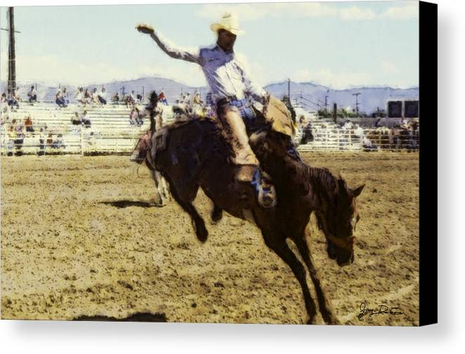 Abstract Canvas Print featuring the photograph Bronco Rider by Gary De Capua