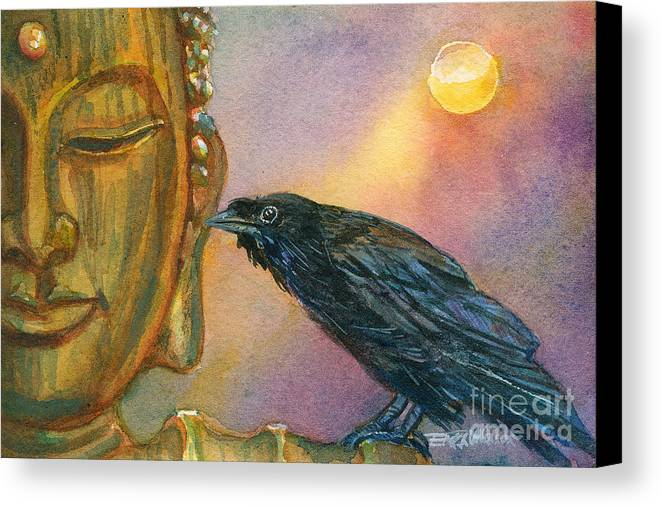 Buddha Canvas Print featuring the painting Bronze Buddha Crow by Erika Nelson