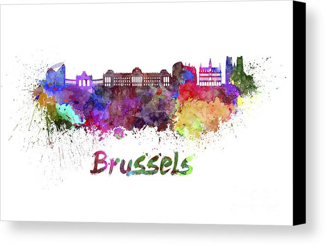 Brussels Skyline Canvas Print featuring the painting Brussels Skyline In Watercolor by Pablo Romero