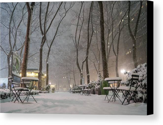 Nyc Canvas Print featuring the photograph Bryant Park - Winter Snow Wonderland - by Vivienne Gucwa