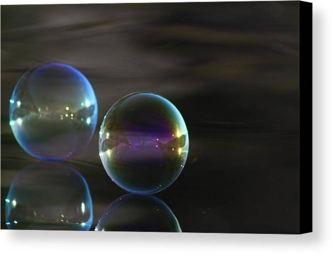 Bubbles Canvas Print featuring the photograph Bubble Bubble On The Water by Cathie Douglas