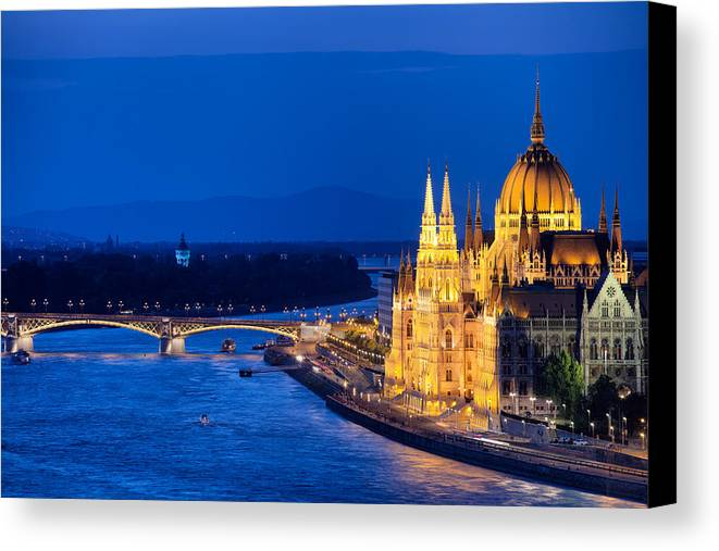 Budapest Canvas Print featuring the photograph Budapest By Night by Artur Bogacki