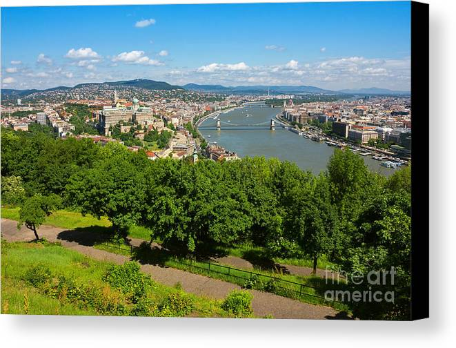 Colorful Canvas Print featuring the photograph Budapest Panoramic View From The Gellert Hill With Danube River by Kiril Stanchev