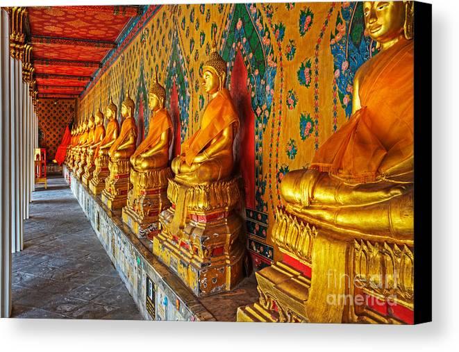 Thailand Art Canvas Print featuring the photograph Buddhas At Wat Arun, Bangkok by David Davis