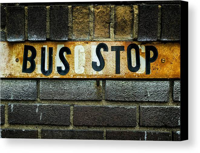 Jeff Canvas Print featuring the photograph Bus Stop by Jeff Burton