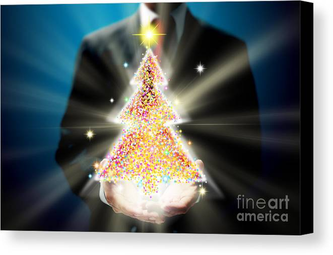 Business Canvas Print featuring the mixed media Bussinessman With Christmas by Atiketta Sangasaeng