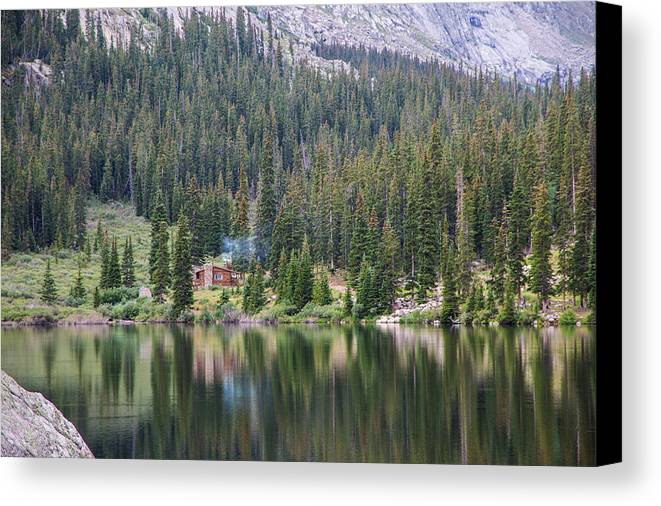 Amazing Canvas Print featuring the photograph Cabin By The Lake In The Forest by Shea Oliver