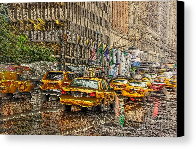 New York Canvas Print featuring the photograph Cabs In The Canyons by David Bearden