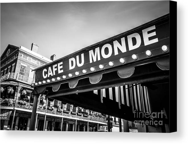 America Canvas Print featuring the photograph Cafe Du Monde Black And White Picture by Paul Velgos