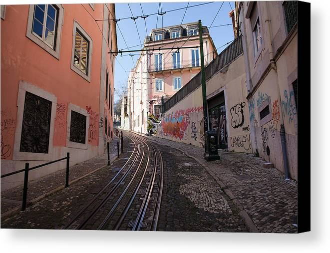 Lisbon Canvas Print featuring the photograph Calcada Da Gloria Street In Lisbon by Artur Bogacki