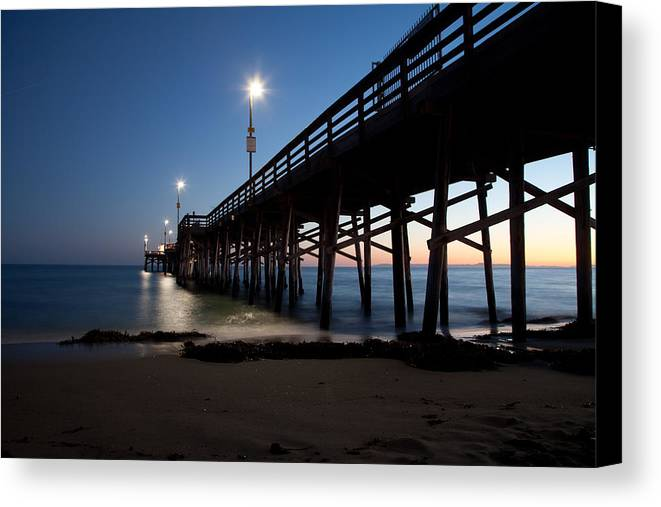 Pier Night Sea Canvas Print featuring the photograph Calm Night At Newport Pier by Brad at Newport Photo Works