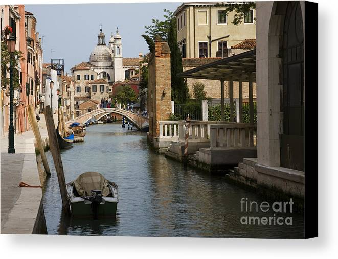 Architectural Canvas Print featuring the photograph Canal In Venice by David Davis