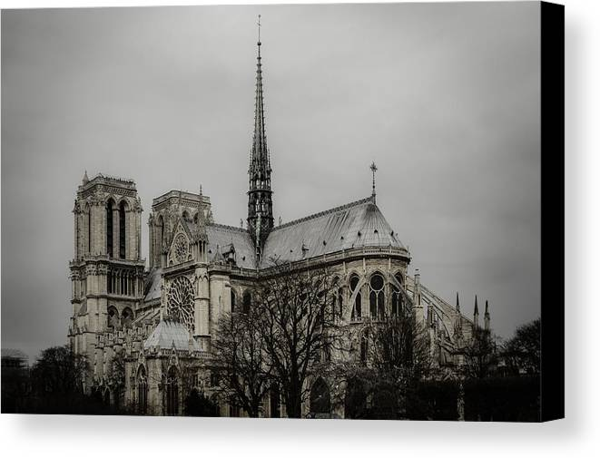 Notre Dame Canvas Print featuring the photograph Cathedral Of Notre Dame De Paris by Marco Oliveira