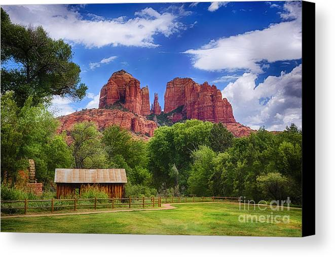 Cathedral Rock Canvas Print featuring the photograph Cathedral Rock by Priscilla Burgers