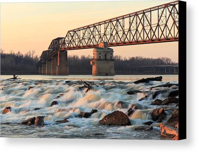 Missouri Canvas Print featuring the photograph Chain Of Rocks Winter Sunset by Scott Rackers