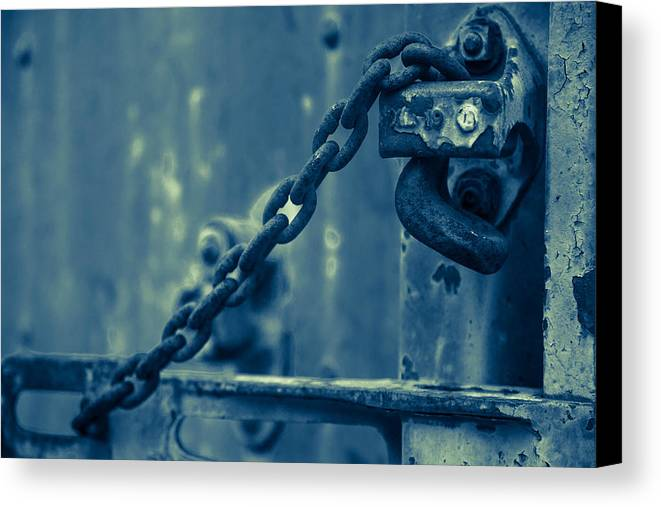 Train Canvas Print featuring the photograph Chained And Moody by Toni Hopper