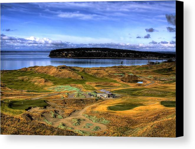 Chambers Bay Golf Course Canvas Print featuring the photograph Chambers Bay Golf Course by David Patterson