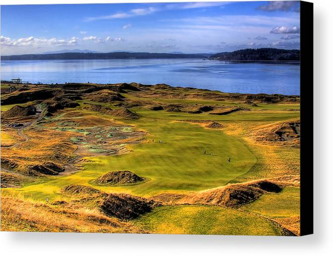 Chambers Bay Golf Course Canvas Print featuring the photograph Chambers Bay Golf Course II by David Patterson