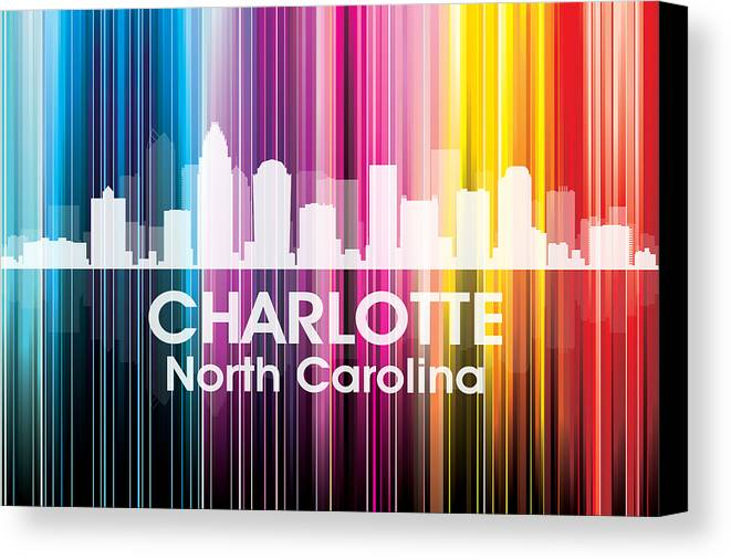 City Silhouette Canvas Print featuring the mixed media Charlotte Nc 2 by Angelina Vick