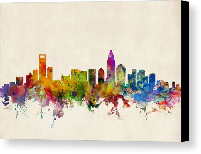 Watercolour Canvas Print featuring the digital art Charlotte North Carolina Skyline by Michael Tompsett