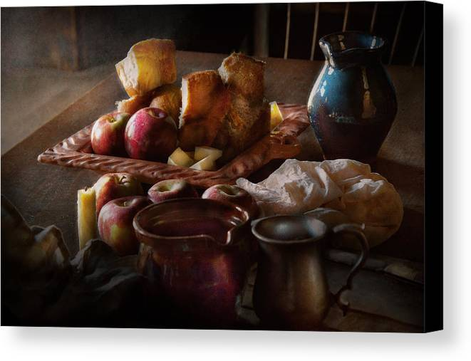 Chef Canvas Print featuring the photograph Chef - Food - A Tribute To Rembrandt - Apples And Rolls by Mike Savad