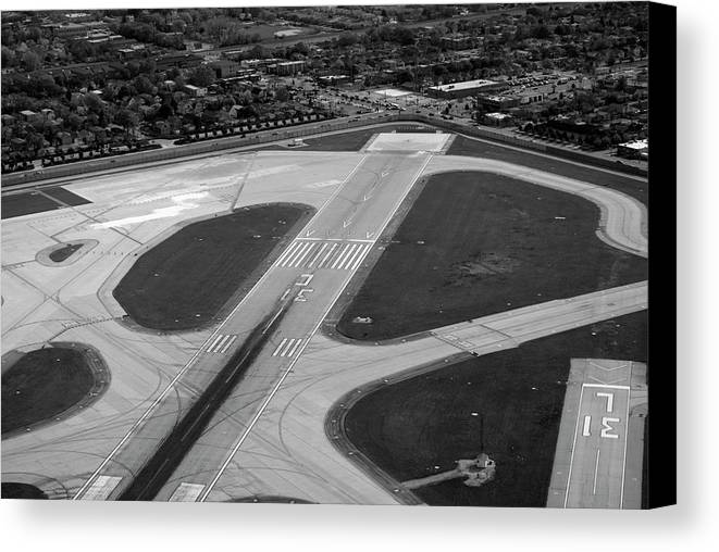 Midway Airport Canvas Print featuring the photograph Chicago Airplanes 04 Black And White by Thomas Woolworth