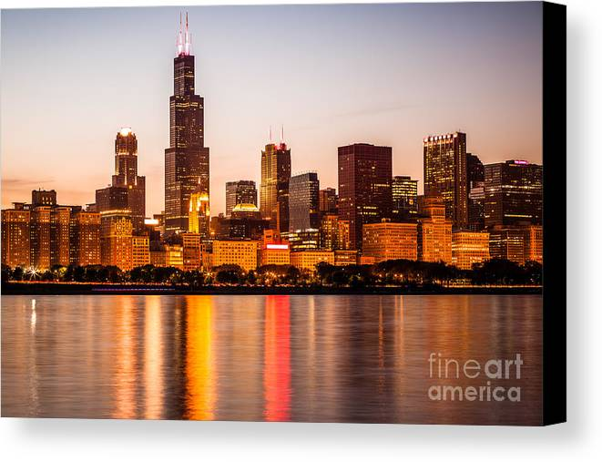 America Canvas Print featuring the photograph Chicago Downtown City Lakefront With Willis-sears Tower by Paul Velgos