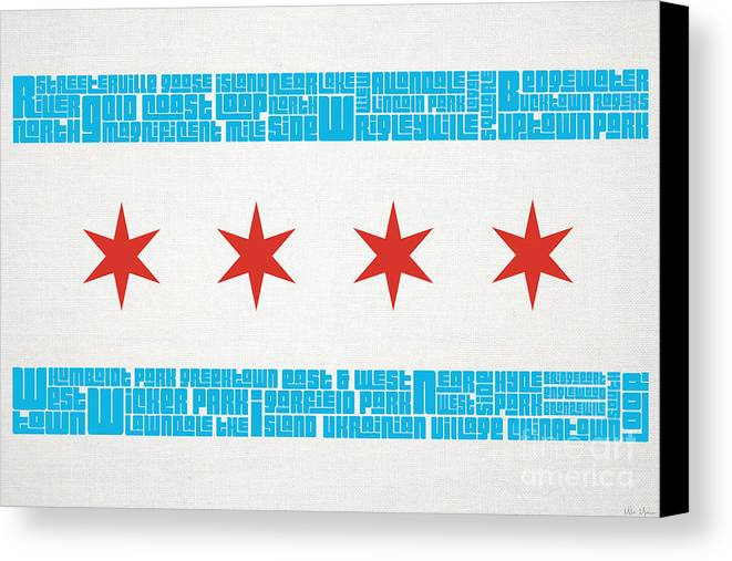Chicago Canvas Print featuring the mixed media Chicago Flag Neighborhoods by Mike Maher