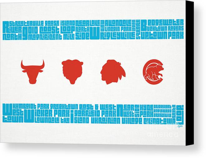 Chicago Canvas Print featuring the mixed media Chicago Flag Sports Teams by Mike Maher