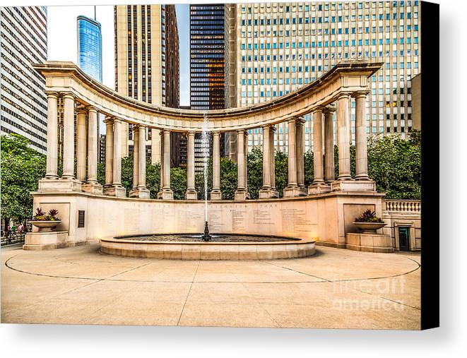 America Canvas Print featuring the photograph Chicago Millennium Monument In Wrigley Square by Paul Velgos