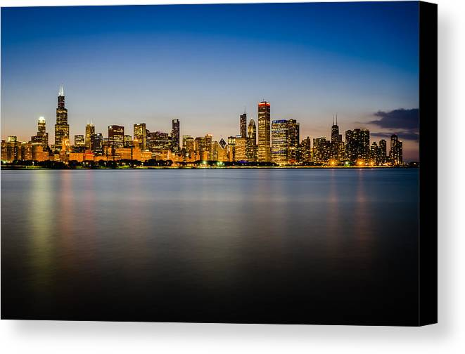 Chicago Canvas Print featuring the photograph Chicago Skyline At Sunset by Anthony Doudt