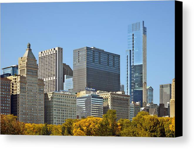 Metropolitan Canvas Print featuring the photograph Chicago Skyline From Millenium Park II by Christine Till