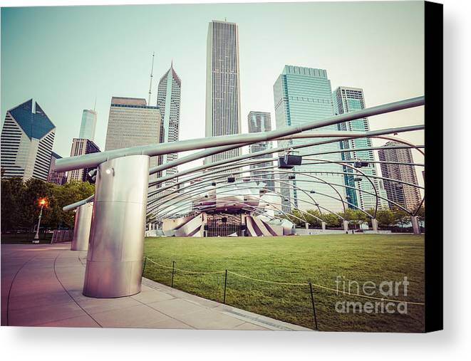 America Canvas Print featuring the photograph Chicago Skyline With Pritzker Pavilion Vintage Picture by Paul Velgos
