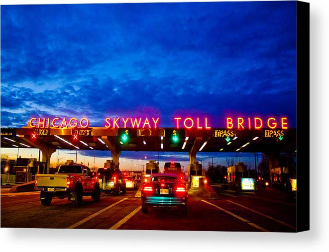 Chicago Canvas Print featuring the photograph Chicago Skyway Toll Bridge by John McGraw