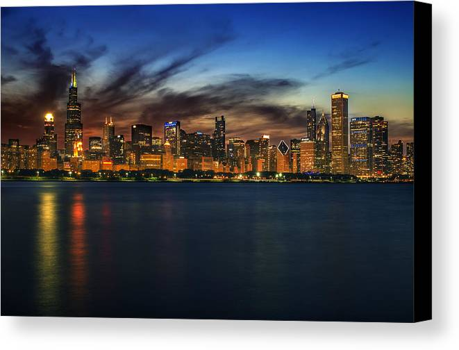 Chicago Skyline Canvas Print featuring the photograph Chicago Sunset by Kevin Whitworth