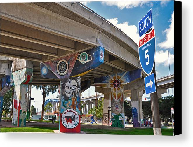 Color Canvas Print featuring the photograph Chicano Park by Todd Hartzo