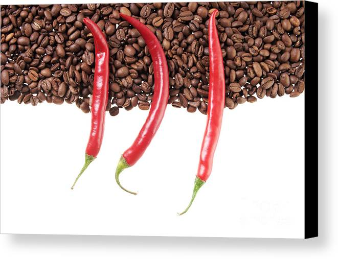 Coffee Beans Canvas Print featuring the photograph Chili And Coffee by Mario Kelichhaus