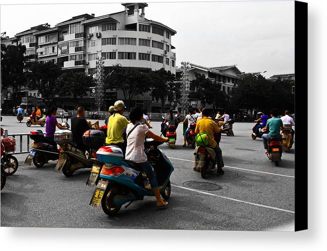 China. Chinese Canvas Print featuring the photograph Chinese Today's Bike by Richard WAN
