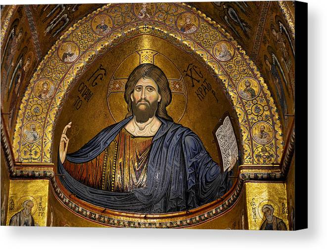 Christ Canvas Print featuring the photograph Christ Pantocrator Mosaic by RicardMN Photography