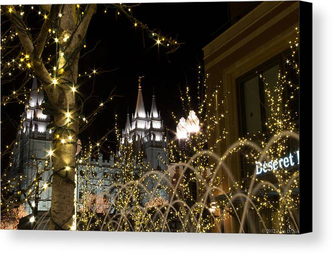 Lds Canvas Print featuring the photograph Christmas At Temple Square 11 by Alan Nix