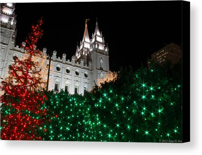 Lds Canvas Print featuring the photograph Christmas At Temple Square 12 by Alan Nix