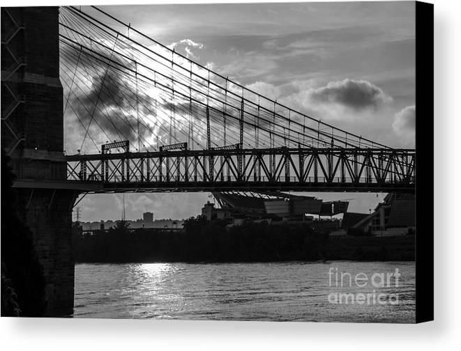 Bridges Canvas Print featuring the photograph Cincinnati Suspension Bridge Black And White by Mary Carol Story