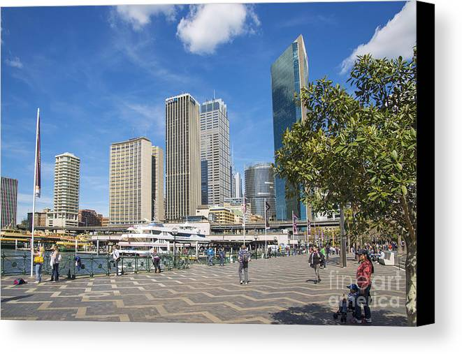Architecture Canvas Print featuring the photograph Circular Quay In Central Sydney Australia by Jacek Malipan