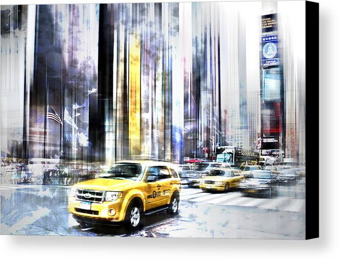 Big Apple Canvas Print featuring the photograph City-art Times Square II by Melanie Viola