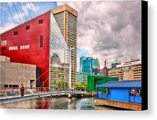 Baltimore Canvas Print featuring the photograph City - Baltimore Md - Harbor Place - Future City by Mike Savad