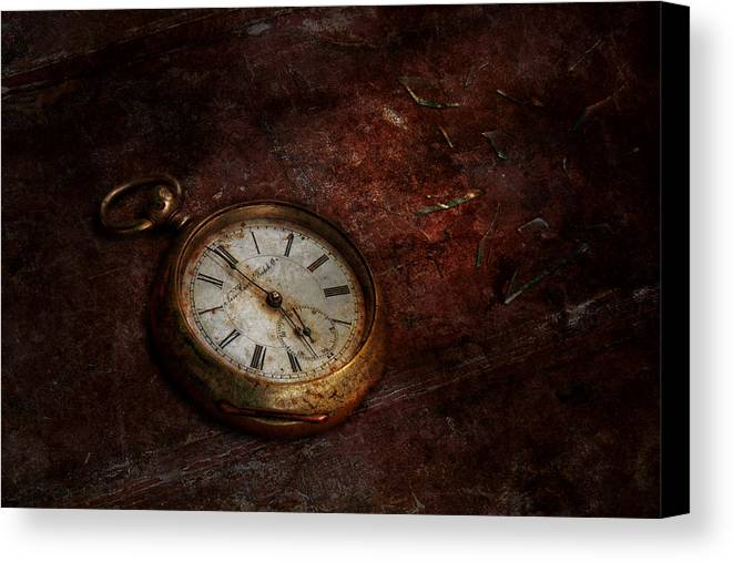 Clockmaker Canvas Print featuring the photograph Clock - Time Waits by Mike Savad